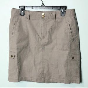 L.L. Bean classic fit cargo brown skirt size 10
